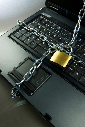 Computer locked and chained