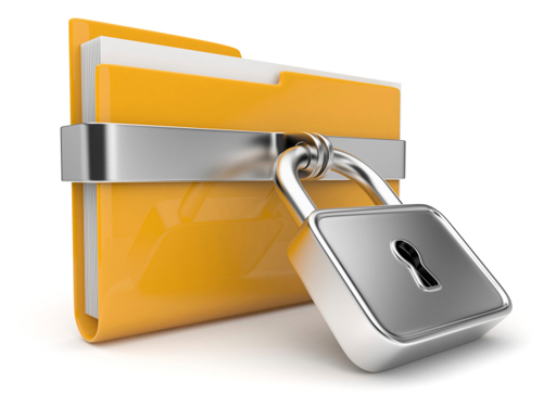 Yellow file folder with padlock